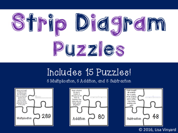 Strip Diagram Puzzles for Multiplication, Addition, and Su