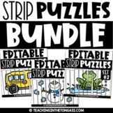 Editable Strip Puzzles ALL YEAR   Math Centers   Math Puzzles