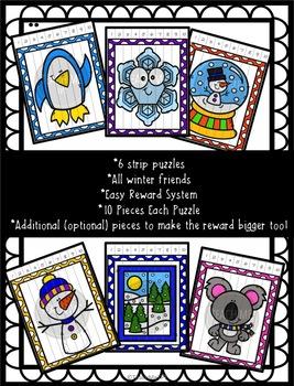 Strip Puzzles Reward System - 6 Winter Puzzles
