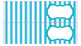 Stripe Labels for 10-Drawer Organizer (Aqua and Black)