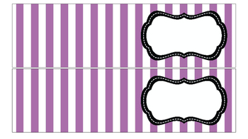 Stripe Labels for 10-Drawer Organizer (Purple and Black)