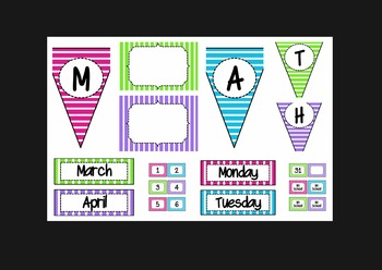 Stripe Bundle (lunch, calendar, subject pennants, word wall letters, and more!)