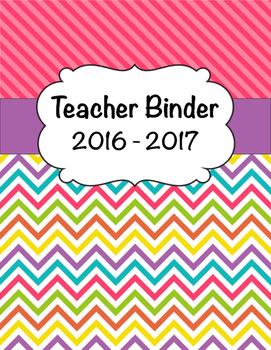 Stripe & Chevron Teacher Binder Cover 2015-2016