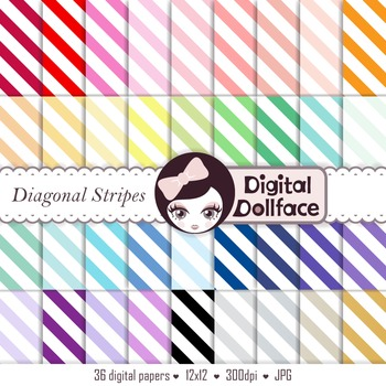 Stripe Digital Paper Set / Diagonal Stripe Scrapbook Backgrounds
