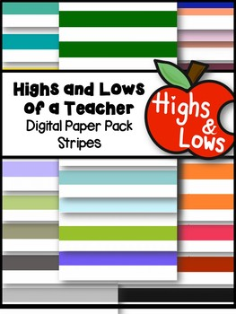 Stripe Digital Paper Set / Stripe Backgrounds (26 Colors)
