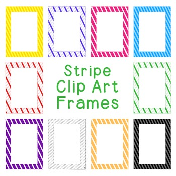 Stripe Frames Clip Art PNG JPG Blackline Included Commercial or Personal