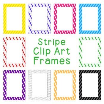 Stripe Frames Clip Art PNG JPG Blackline Included Commerci