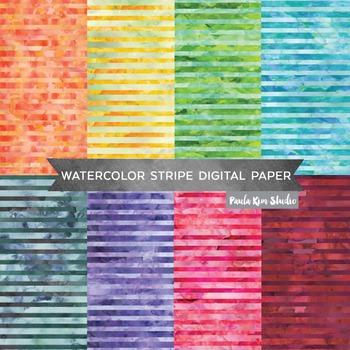 Stripe Pattern Watercolor Backgrounds