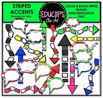 Striped Accents Clip Art Bundle  {Educlips Clipart}