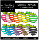 Striped Apples 1 Clipart {A Hughes Design}