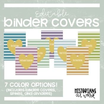 Striped Binder Covers - Editable {7 Colors & Matching Spines}