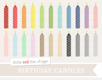 Striped Birthday Candle Clipart; Party, Cake Decoration