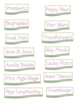 Striped Book Bin Labels