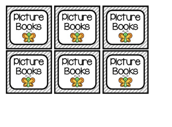 Striped Book Bin Labels (Fully Editable)