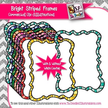 Striped Bright Color Rectangle Squiggle Frame Clip Art