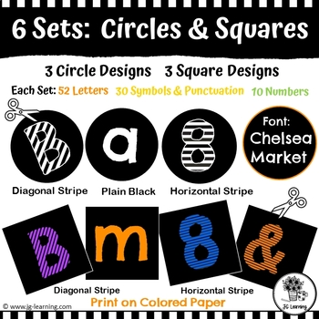 Black and White Bulletin Board Letters & Editable Bunting Stripes | Ink-Saving