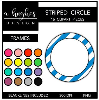 Circle Striped Frames Clipart {A Hughes Design}