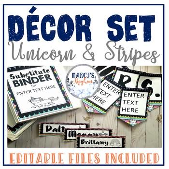 Unicorn Themed classroom decor with EDITABLE files