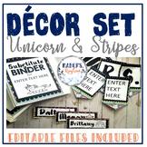 Unicorn Classroom Theme Decor Set: Magical Classroom Decorations EDITABLE files