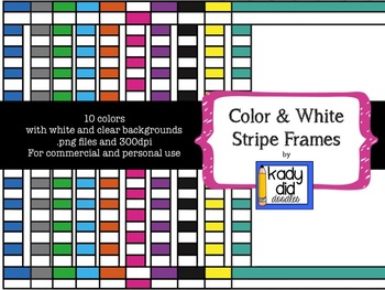 Striped Color and White Frames {Kady Did Doodles}