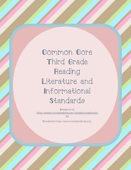 Striped Common Core third grade reading and informational standards