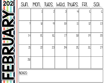 Striped Desk Calendar