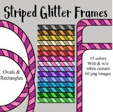 Striped Digital Glitter Frames - Ovals & Rectangles