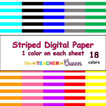 Striped Digital Paper - 1 color per sheet