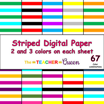 Striped Digital Paper - 2 and 3 colors per sheet