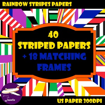 Striped Digital Papers and Matching Frames for Work Books, Cover Pages & Sellers