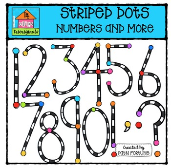 FREE Striped Dots Numbers {P4 Clips Trioriginals Digital Clip Art}