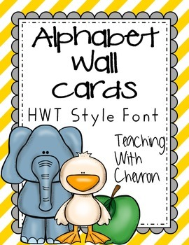 Striped HWT Style Alphabet wall cards - red, green, yellow