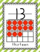 Striped HWT style Number Wall Cards - red, green, yellow