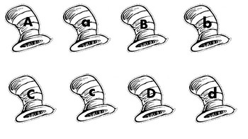 Striped Hat Alphabet Match (Black and White)