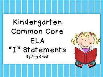"Striped Kindergarten ELA Common Core ""I"" Statements"