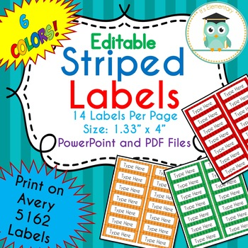 Striped Labels Editable (Avery 5162) Bright RAINBOW COLORS