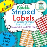 Striped Labels Editable Folder (Avery 5162) Bright RAINBOW COLORS