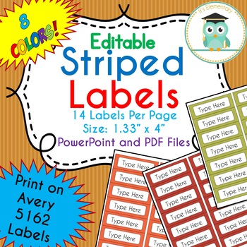 Striped Labels Editable Classroom Notebook Folder Name Tags (Avery 5162) FALL