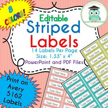 Striped Labels Editable Classroom Notebook Folder Name Tags (Avery 5162, PARTY)
