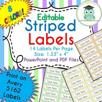 Striped Labels Editable Folder (Avery 5162) PASTEL COLORS
