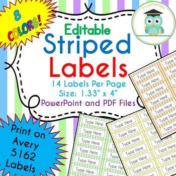Striped Labels Editable Classroom Notebook Folder Name Tags (Avery 5162, PASTEL)