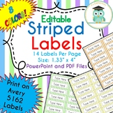 Striped Labels Editable Folder (Avery 5162) PASTEL COLORS