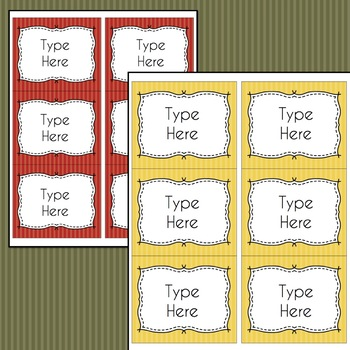 Striped Labels Editable Classroom Notebook Folder Name (FALL, Avery 5164, 8164)