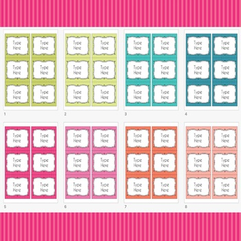 Striped Labels Editable Classroom Notebook Folder Name  (PARTY, Avery 5164)