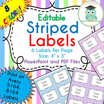 Striped Labels Editable Classroom Notebook Folder Name (PASTELS, Avery 5164)