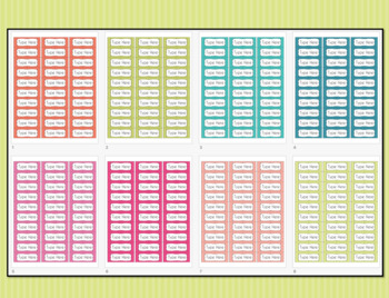 Striped Labels Editable Classroom Notebook Folder Name (Party, Avery 5160,  8160)