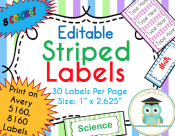 striped labels editable classroom notebook folder name tag pastel