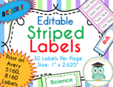 Striped Labels Editable Classroom Notebook Folder Name Tag (Pastel, Avery 5160)