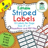 Striped Labels Editable Classroom Notebook Folder Name (FALL, Avery 5163, 8163)
