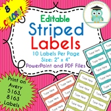 Striped Labels Editable Classroom Notebook Folder Name (PARTY, Avery 5163, 8163)
